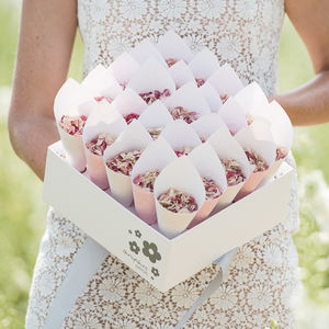 25 Biodegradable Wedding Petal Confetti Cones - parties