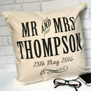 Personalised Mr And Mrs Wedding Anniversary Cushion