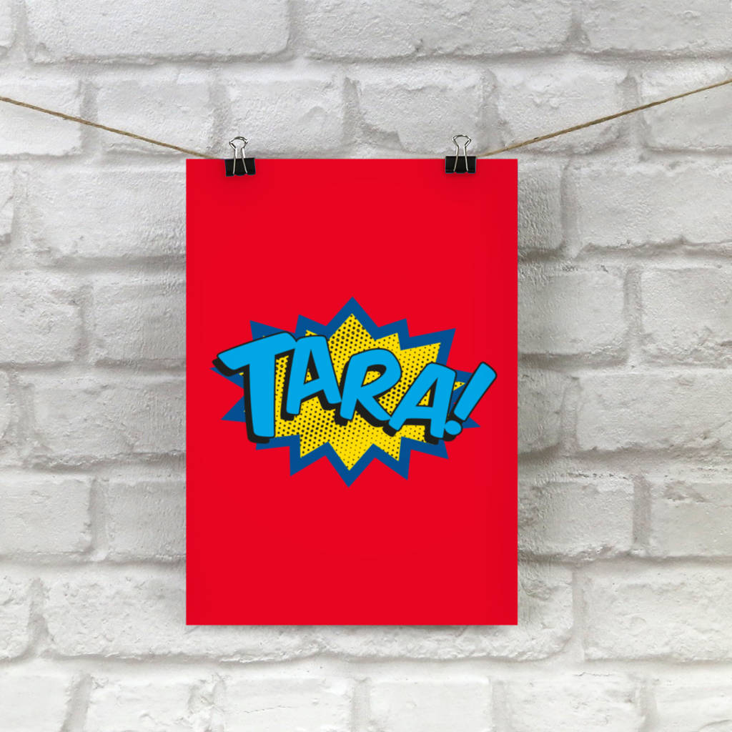 personalised superhero comic book print by applemint designs ...