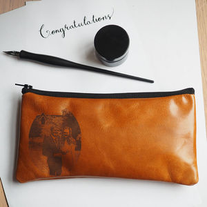 Photo Engraved Leather Pencil Case - pencil cases