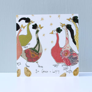 Six Geese A Laying Christmas Cards Pack Of Five - cards