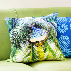 Tropical Picking Coconuts Print Cushion - patterned cushions