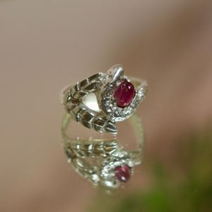 Snake And Palm Leaf Ring With Pink Tourmaline Stone - rings
