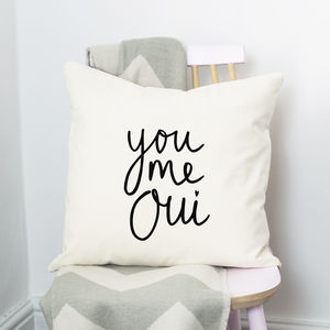 You, Me, Oui Cushion - gifts for her sale