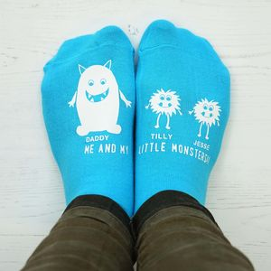 Personalised Little Monster Daddy Socks - gifts for fathers