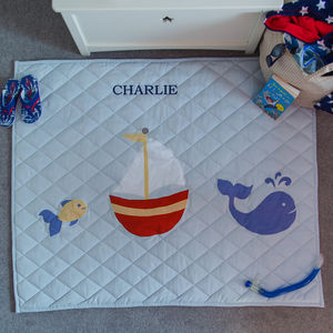 Children's Nautical Light Blue Floor And Play Mat