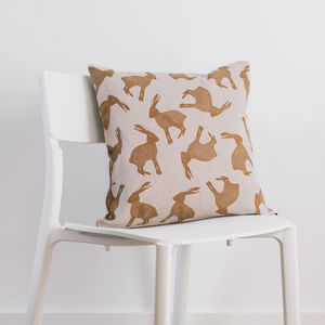 Leaping Hare Cushion With Tweed Back