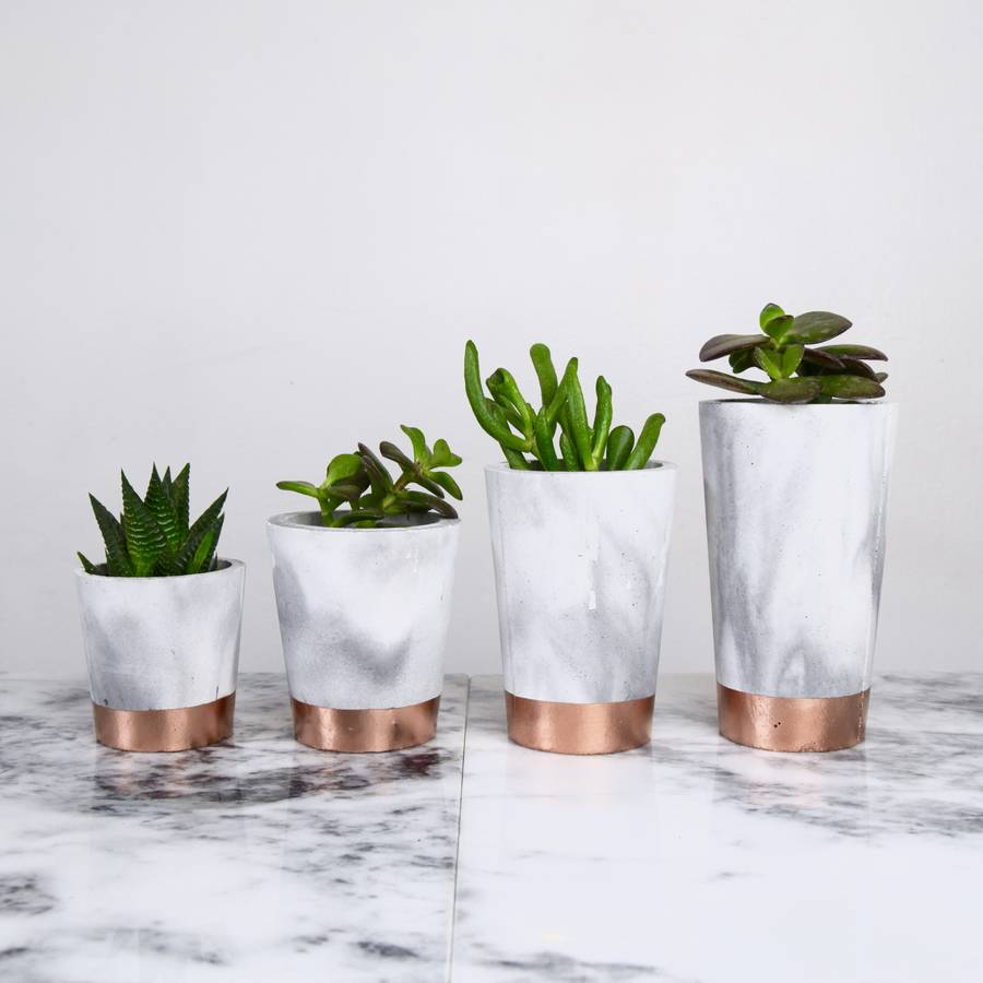 copper dipped marbled cement pots by sort cement. Black Bedroom Furniture Sets. Home Design Ideas