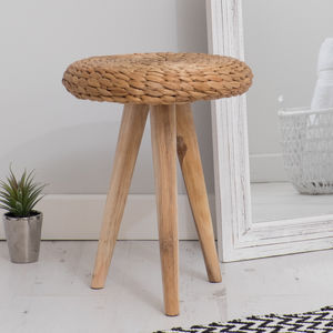 Wooden Stool With Hyacinth Seat Provence