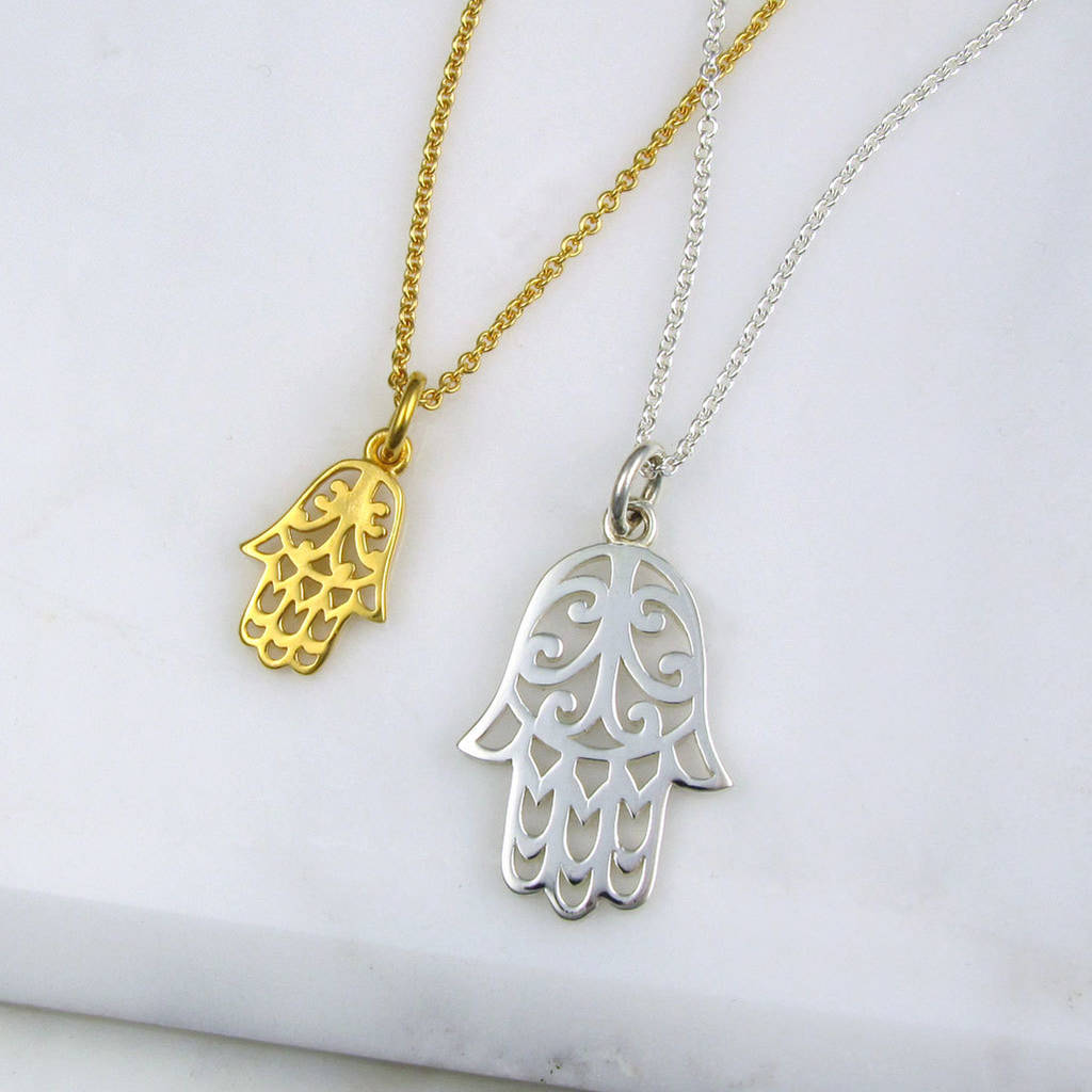 Hamsa hand necklace by black pearl notonthehighstreet hamsa hand necklace mozeypictures Image collections