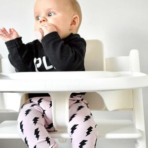 Girls Pink/Black Lightning Bolt Leggings