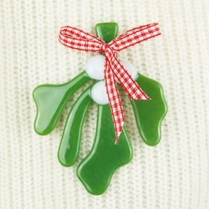 Handmade Fused Glass Mistletoe Christmas Brooch