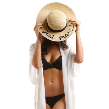Just Married Straw Embroidery Floppy Hat