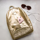 Gold Italian Leather Stylish Ladies Rucksack