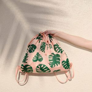 Got Your Back Monstera Drawstring Backpack - backpacks
