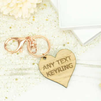 Personalised Engraved Any Text Heart Keyring
