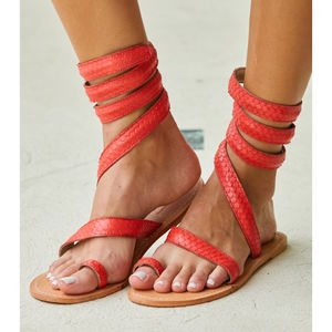 Coral Cannes Flat Leather Ankle Wrap Sandals