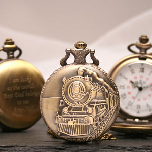 Engraved Bronze Pocket Watch Steam Train Design - personalised