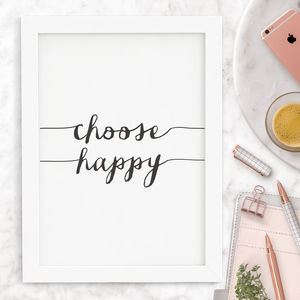 Choose Happy Typography Print - posters & prints