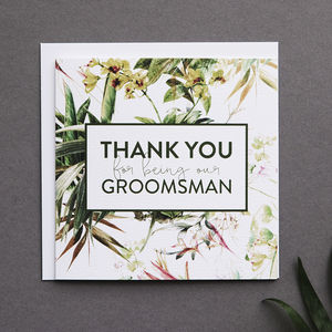'Thank You For Being Our Groomsman' Card - best man & usher cards