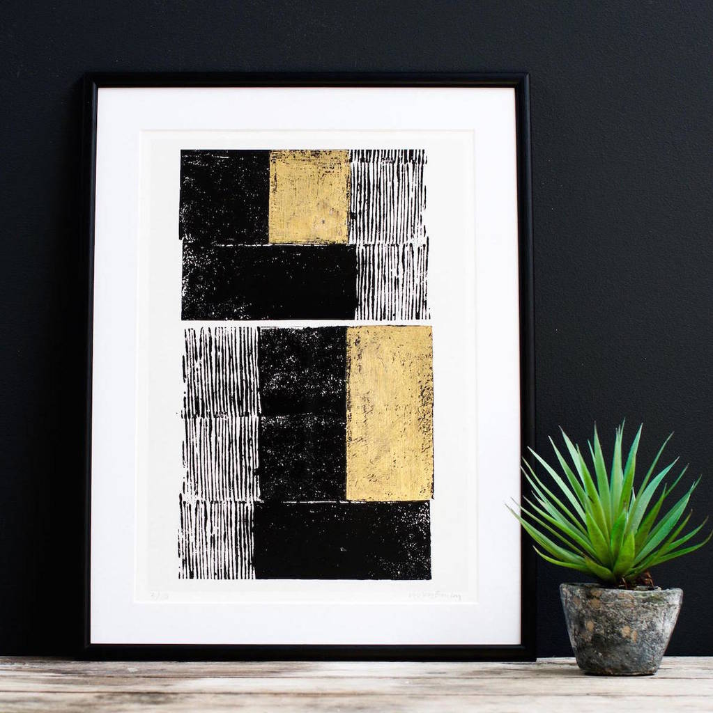 Gold Embossed And Black Block Print