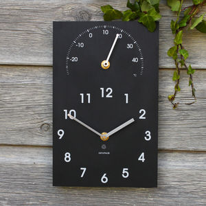 Eco Recycled Outdoor Clock And Thermometer - office & study