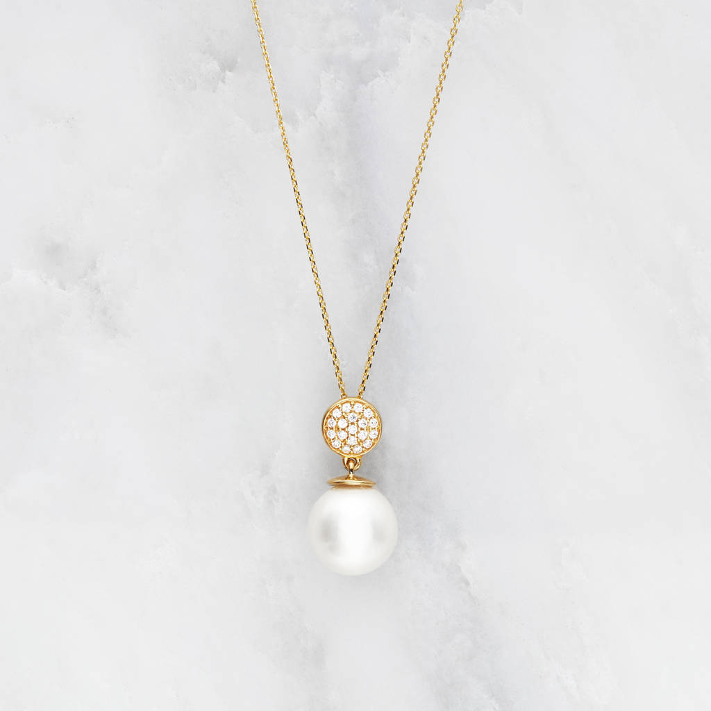 Gold or silver diamond style pearl pendant necklace by lily roo gold or silver diamond style pearl pendant necklace mozeypictures Choice Image