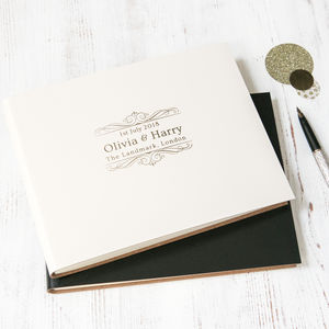 Wedding Guest Book With A Wedding Logo Designed - albums & guest books