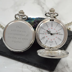Engraved Vintage Pocket Watch Silver - summer sale