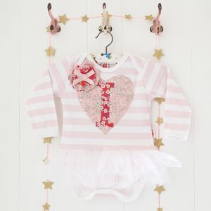 Personalised Heart And Letter Tutu Bodysuit - clothing
