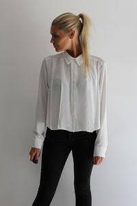 Cropped Chiffon Shirt - women's fashion