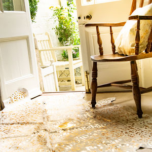 Cream And Copper Metallic Natural Cowhide Rug