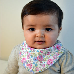 Baby Bib Pink Blue Roses By Liberty