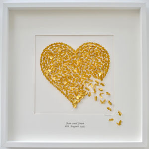 Golden Wedding Anniversary Personalised Heart Picture