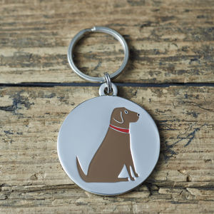 Chocolate Labrador ID Name Tag - pets sale