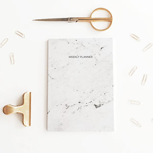 Undated Weekly Planner, A5 Marbled Notebook - stationery-lover