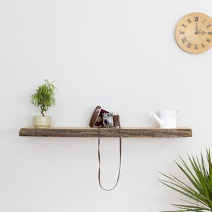 Bark Edge Solid Oak Floating Wall Shelf