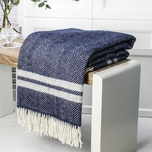 Herringbone Double Stripe Wool Throw - cosy outdoor inspiration