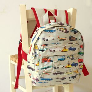 Vintage Transport Print Rucksack - outdoor living
