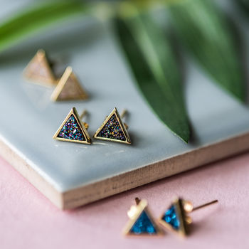 Druzy Triangle Stud Earrings
