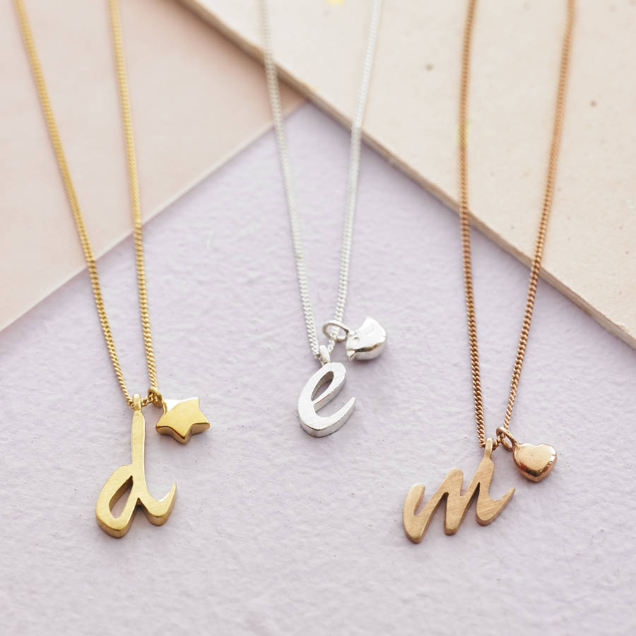 necklace bychari diamond letter products initial spaced