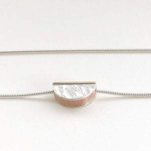 'Half Round' Silver And Brass Embossed Bracelet