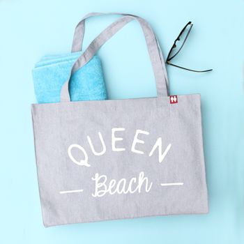 'Queen Beach' Personalised Large Tote Bag