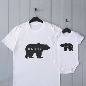 Personalised Father's Day Daddy Bear T Shirt Set - clothing
