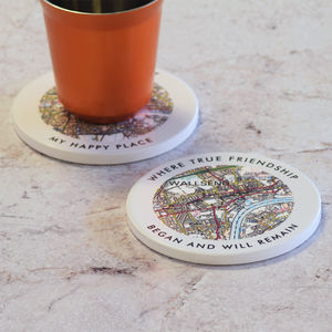 Personalised Love Wording Postcode Map Coaster - kitchen