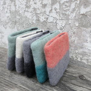 Fairtrade Handmade Felt Ombre Two Tone Zip Purse