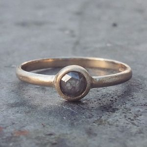 Grey Rosecut Diamond Ring In 9ct Yellow Eco Gold - engagement rings