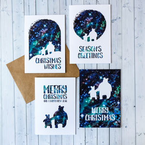 Pack Of Eight Celestial Bears Christmas Cards