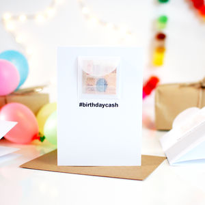 Hashtag Personalised Birthday Card Cash Gift - teenagers