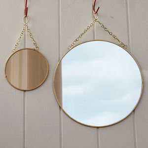 Brass Circular Mirror With Chain - bedroom